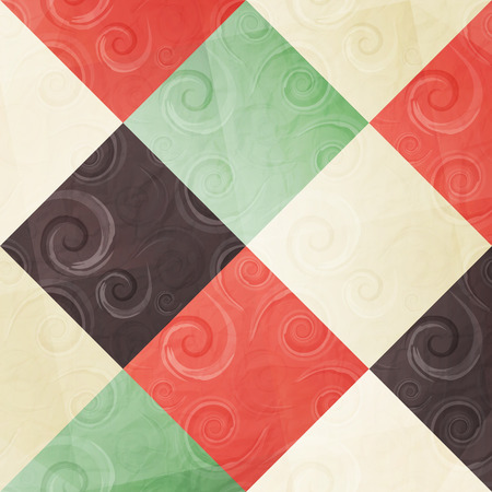 paperhanging: abstract fashion wallpaper with ornamental swirls and colorful mosaic tiled background