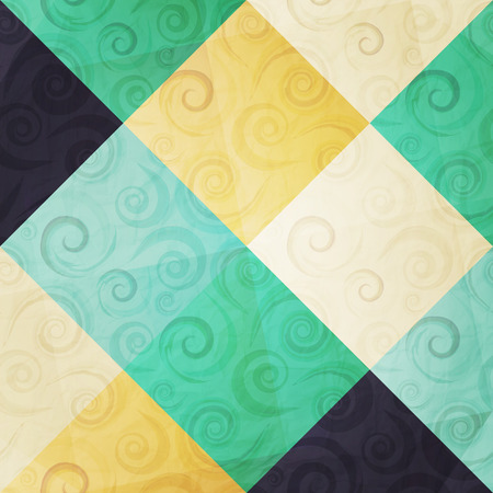 paperhanging: abstract fashion background with ornamental swirls and colorful mosaic paper texture
