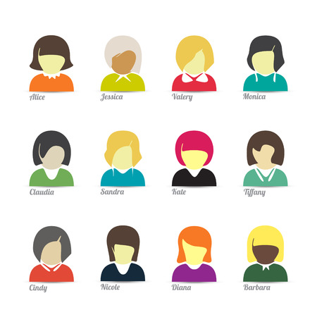 set of cartoon style female avatar. colorful woman character icons Vector