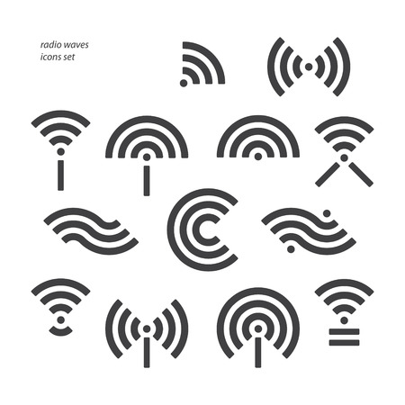 set of different wireless and wifi symbols. vector radio waves icons