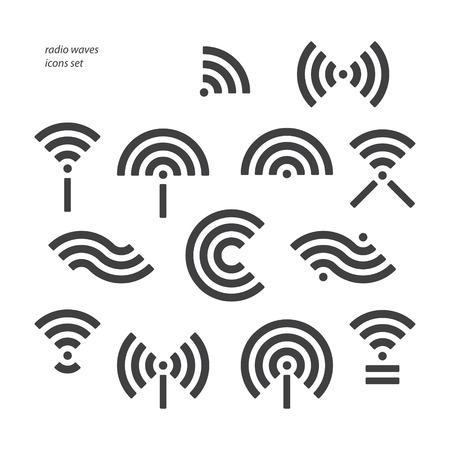 set van verschillende draadloze en wifi symbolen. vector radiogolven iconen