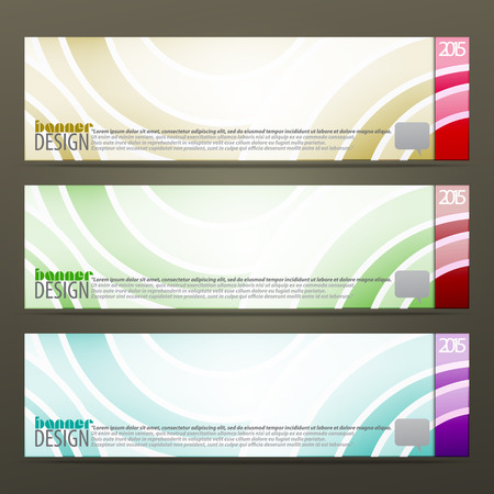 new set of horizontal business banners with abstract waves pattern. vector web design Vector