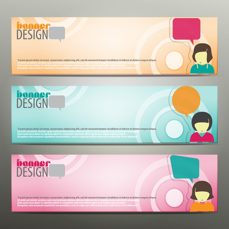 set of horizontal business banners with girl avatar and speech bubbles. colorful vector web design Vector