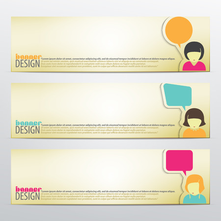 set of horizontal business banners with woman and speech bubbles. vector web design Vector