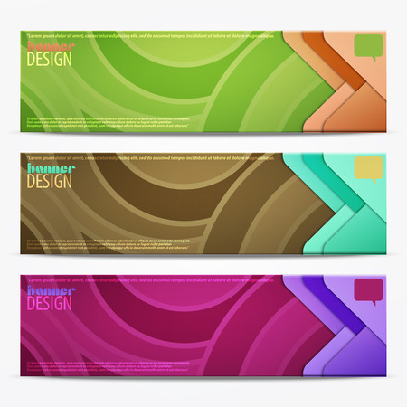 new set of horizontal business banners with colorful waves pattern. vector web design Vector