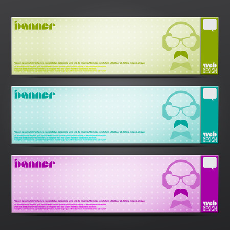 set of horizontal party banners with hipster dj. vector web design elements Vector