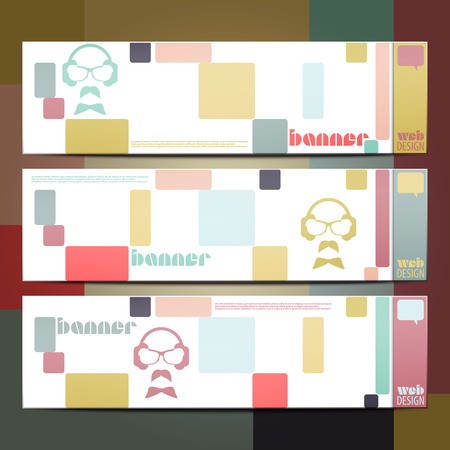 set of colorful graphic banners. vector minimalistic design Vector