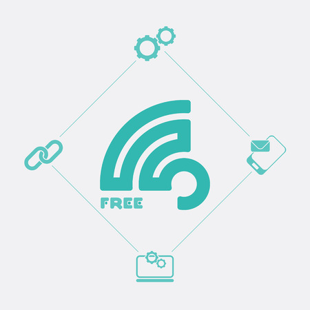 wireless connection: set of web icons and free wireless connection sign. vector graphic design Illustration