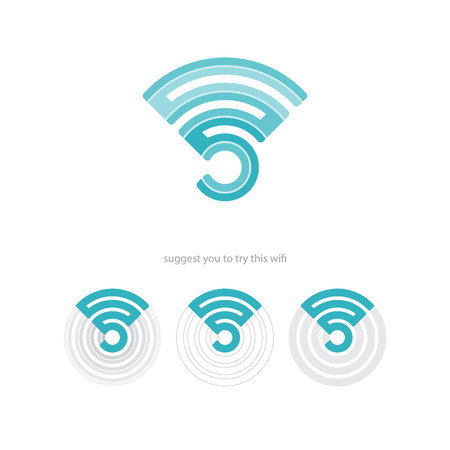 set of wifi connection icons and radio waves. vector web design