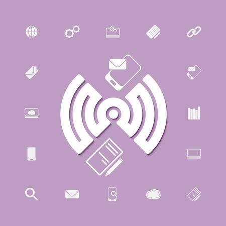 compose and send via wifi connection icons. vector web design Illusztráció