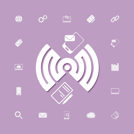 compose and send via wifi connection icons. vector web design Illustration