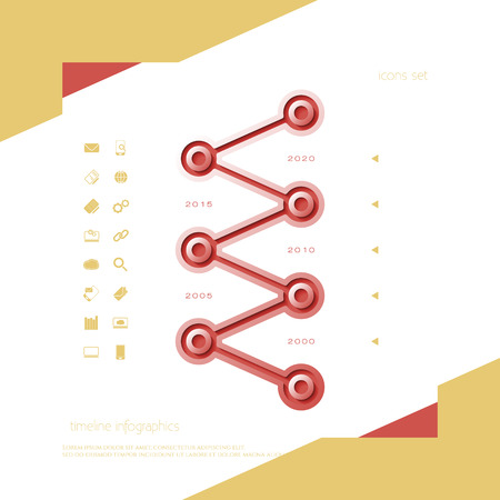 chronological: timeline infographic bar and set of web icons. vector design template Illustration