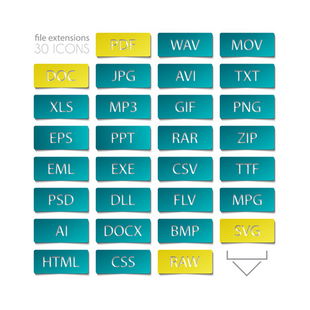 extensions: set of file type icons. file extensions sign