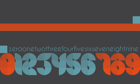 numerals: new set of edge style numbers isolated on gray background. vector numerals design