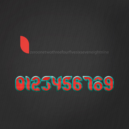 numerals: set of edge style numbers over black paper background. vector numerals design