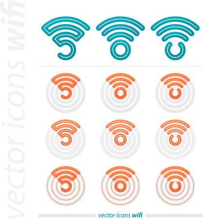 internet radio: collection of connection icons and radio waves.