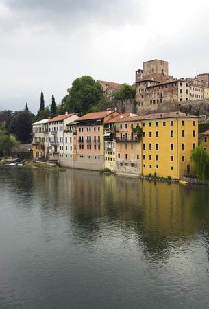grappa: view from the bridge of Italian village Basano Del Grappa over the Brenta river