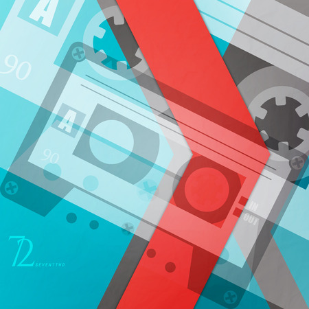 cassette tape: abstract, music background with retro cassette tape and red arrow. vector graphic design Illustration