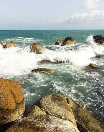 sea waves: sea waves, rocks and water foam. summer holidays view Stock Photo