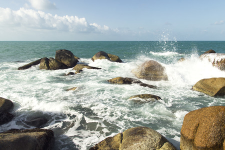 sea waves: sea waves, water splash and white foam. summer nature view Stock Photo