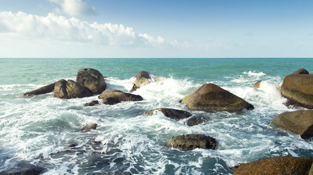 sea waves: sea waves, water splash and white foam. summer nature scenic
