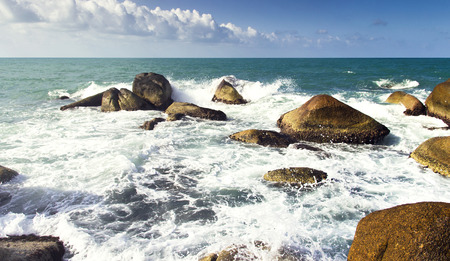 sea waves: sea waves, water splash with white foam. Asia summer trip scenic