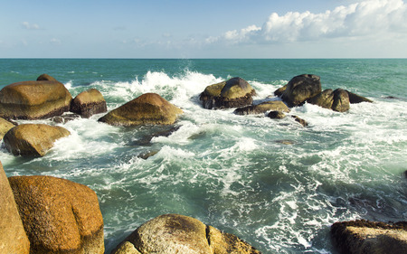 sea waves: sea waves and water splash with white foam. Asia summer travel scenic