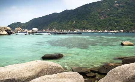 koh tao: harbor of Koh Tao and Koh Nangyuan islands in Thailand. snorkeling paradise with clear sea water and stones beach Stock Photo