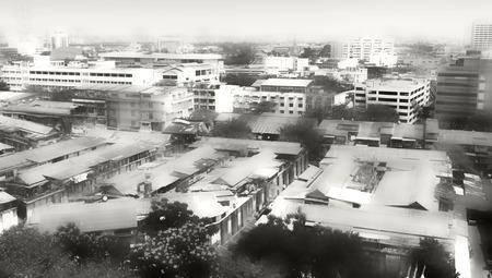 monochromatic: panoramic view of Bangkok city. cityscape monochromatic background