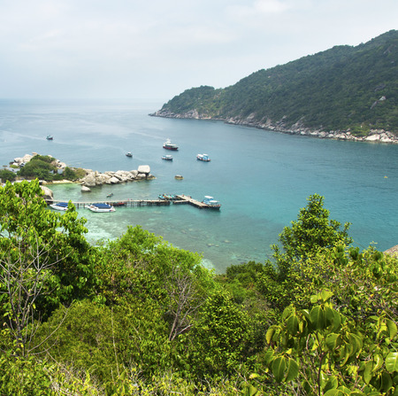 koh tao: harbor of Koh Tao and Koh Nangyuan islands in Thailand. diving paradise with clear sea water and beach
