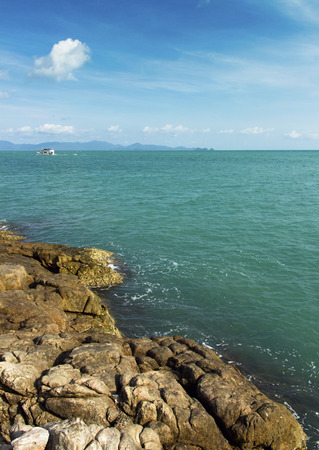 'koh samui': view from the rocks of tropical coastline. travel view from Koh Samui island, Thailand Stock Photo