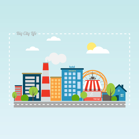 asphalt road: new flat style cityscape with modern buildings, hotel, market, park and asphalt road. vector illustration