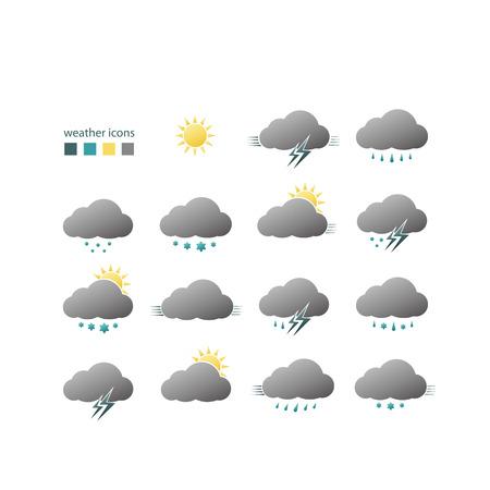 set weer iconen met zon, wolken, regen, sneeuw en bliksem symbolen op een witte achtergrond. vector grafisch ontwerp