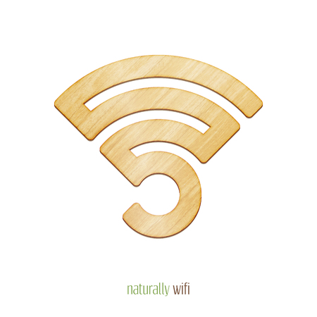 radio waves: new, wooden plank style wireless and wifi symbol. isolated vector radio waves icon Illustration
