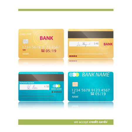 obligation: set of two realistic credit card icons isolated on white background. vector business security concept Illustration