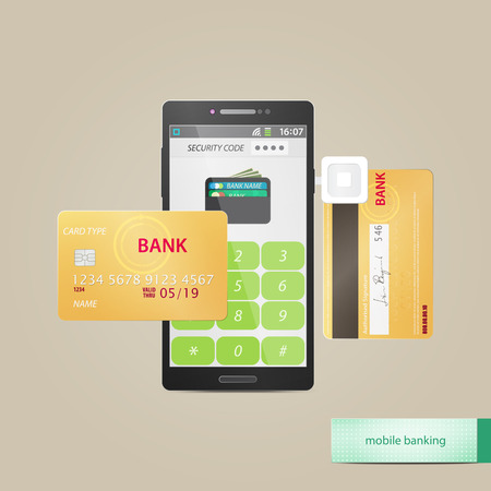 payment: mobile payment and electronic wallet concept with credit card and safe smartphone application. vector flat design icons Illustration