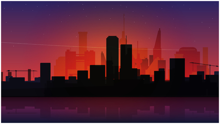 tranquil scene on urban scene: quiet night city scene with stars in the sky, modern buildings. vector abstract background design