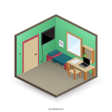 isolated, isometric bedroom with decorative objects and flat style icons. vector interior design Illustration