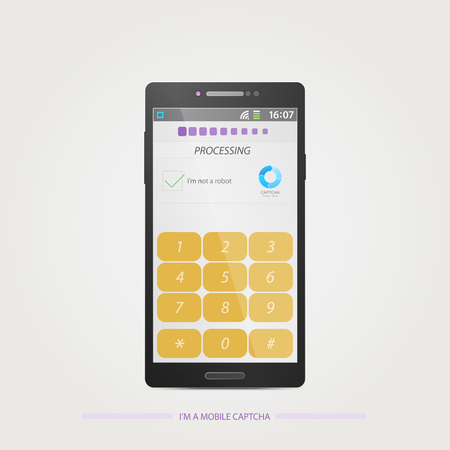 annoyance: Captcha (Completely Automated Public Turing test to tell Computers and Humans Apart) on a smartphone display. vector technology icons