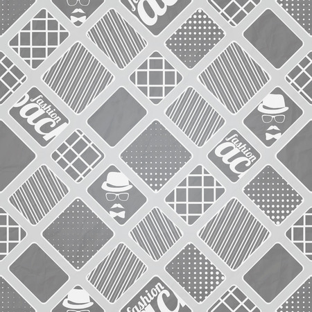 textura papel: seamless pattern with abstract, geometric ornament over gray paper texture. vector fashion wallpaper