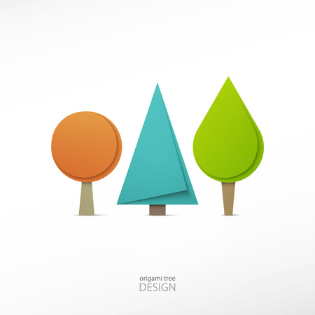 set of origami style tree icons isolated on white background. vector cartoon trees. ecology concept graphic design Illustration