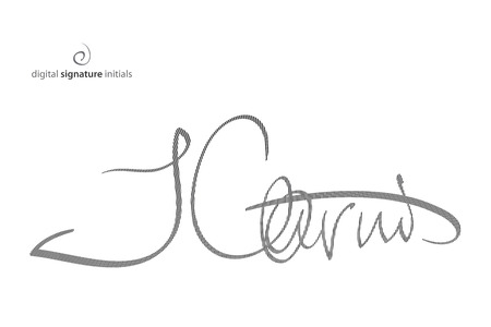 abstract, fictitious, digital signature icon protected with encryption technology. vector electronic autograph, business concept
