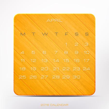 wooden frame: trendy, 2016 year calendar over orange wooden frame, isolated on white background. vector April organizer design Illustration