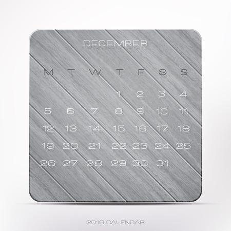 wooden frame: stylish, 2016 year calendar over gray wooden frame, isolated on white background. vector December organizer design Illustration