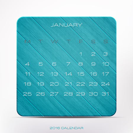 nifty: stylish, 2016 year calendar over blue wooden frame, isolated on white background. vector January organizer design