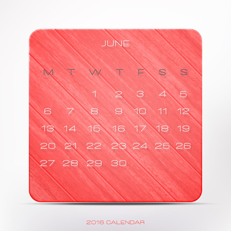 wooden frame: stylish, 2016 year calendar over pink wooden frame, isolated on white background. vector June organizer design