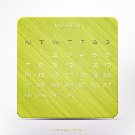 wooden frame: trendy, 2016 year calendar over green wooden frame, isolated on white background. vector March planner design