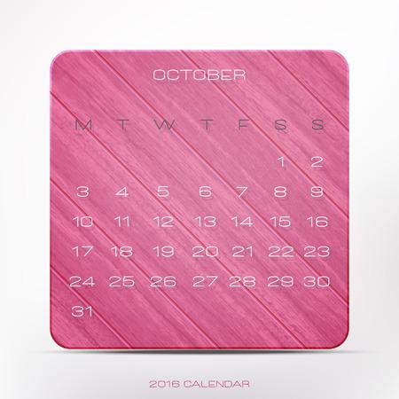 wooden frame: stylish, 2016 year calendar over red wooden frame, isolated on white background. vector October office planner design Illustration