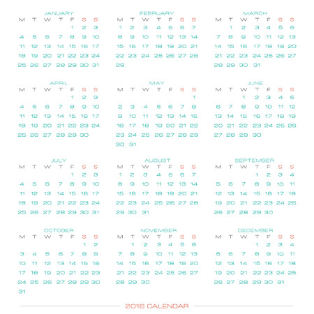 planner: abstract calendar for 2016 year isolated on white background. vector monthly planner template