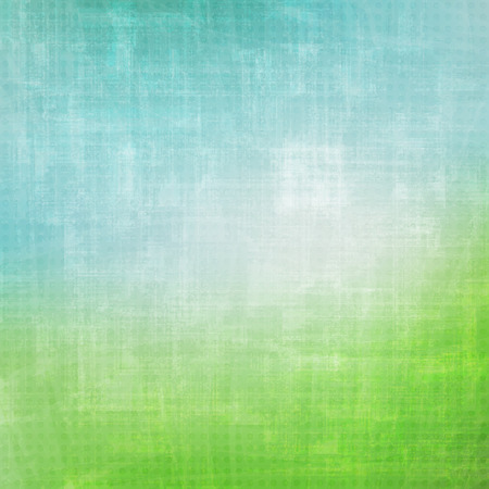 green field: abstract, grunge background with colorful paper texture. vector wallpaper design. artistic green field and blue sky Illustration